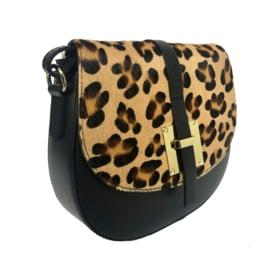 TOUTESTBELLE - Leather crossbody shoulder bag hair - Leopard print
