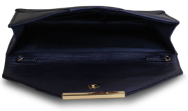 Envelop clutch XL ~ metallic navy blauw