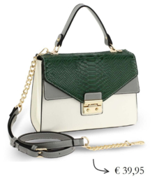 Faux leather snakeprint crossbody bag ~ green, grey, white