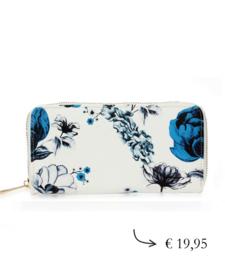 Grote dames rits portemonnee bloem - wit, blauw