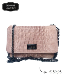 Leather croco shoulder bag, crossbody bag ~ baby pink