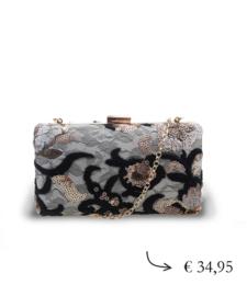 Clutch box paillette kralen ~ zwart