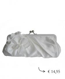Clutch evening bag flower ~ white