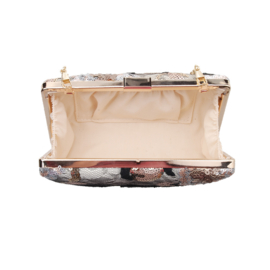 Clutch box paillette kralen ~ zwart