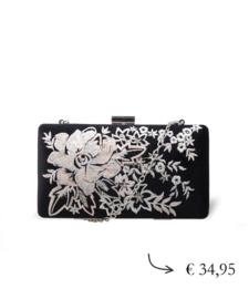 Clutch box met bloemenprint ~ zwart