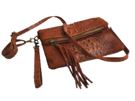 Leren festival schoudertasje croco details  ~ bruin