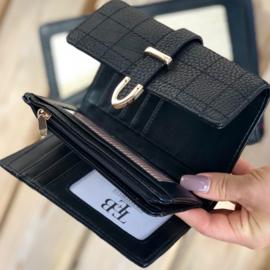 Kleine dames portemonnee veel pasjes - zwart