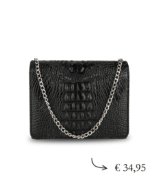 Crossbody clutch tasje croco lak ~ zwart