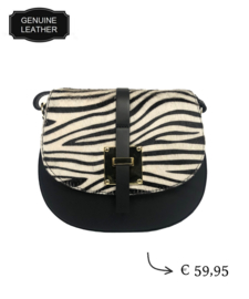 TOUTESTBELLE - Leather crossbody shoulder bag hair - Zebra print