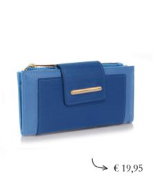 Overslagportemonnee dames met rits ~ blauw, lichtblauw