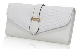Grote dames portemonnee imitatieleer snake - wit