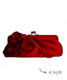 Clutch avondtasje bloem ~ rood