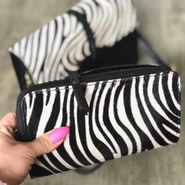 Leren dames portemonnee rits vacht - Zebra