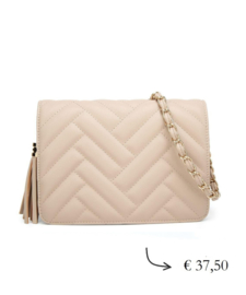 Faux leather crossbody bag quilted ~ beige