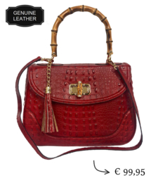 Classy croco leather women's handbag - Bamboo details ~ Red