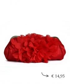 Clutch bloem satijn ~ rood