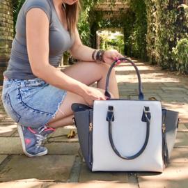 Grote dames shopper handtas rits ~ grijs, wit