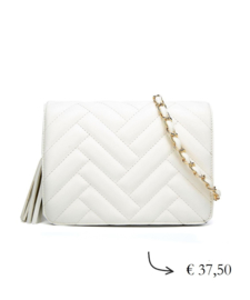 Faux leather crossbody bag quilted ~ white