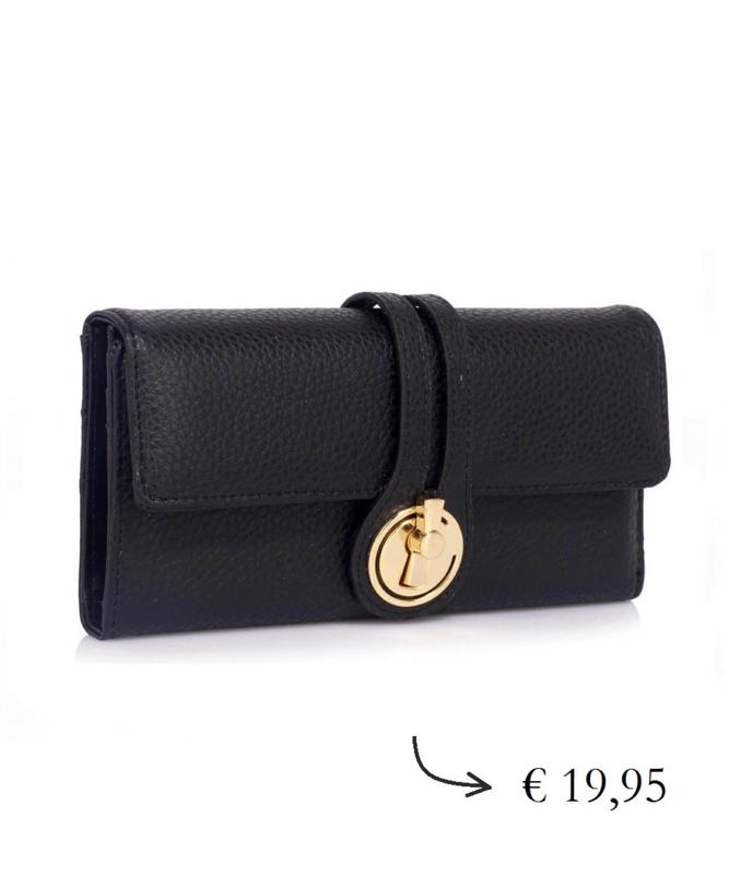 Grote dames portemonnee veel pasjes draaislot - zwart
