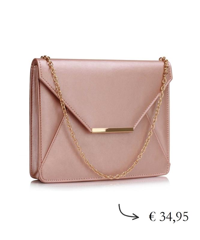Grote envelop clutch ~ champagne roze