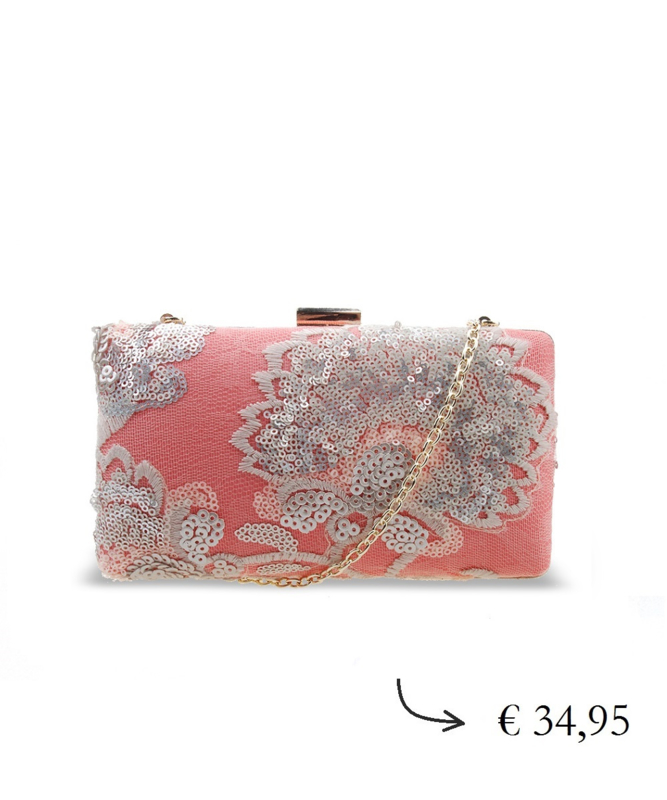 Clutch box paillette kralen ~ roze