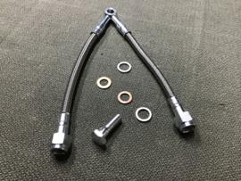 OLIELEIDING TUIMELAARS GROTE MODELLEN; Moto Guzzi Oil pressure gauge line inox - 1100 Sport i.e., V11, California 1100 , Quota, Le Mans...