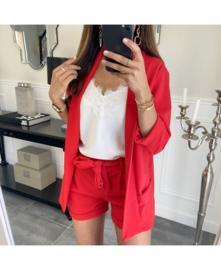 Short + Blazer effen rood