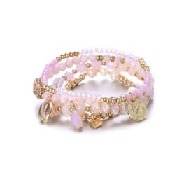 Armband parels + schelp roos