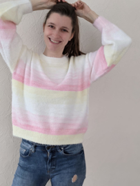 sweater multicolour geel/roos