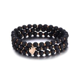 Armband parels set van 3 mat zwart