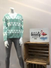 sweater hartjes muntgroen