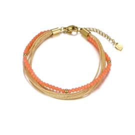 Armband parels koraal/goud