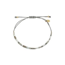 Armband blokjes grijs/zilver