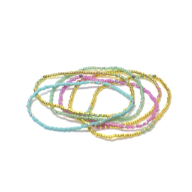 Armband parels roos/turqouise/goud
