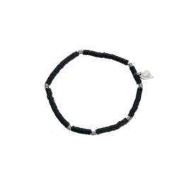 Armband fijn donkergroen/zilver