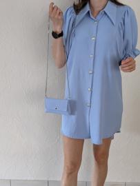 Kleed pofmouw effen + handtasje jeansblauw