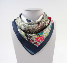 Sjaal 4prints donkerblauw