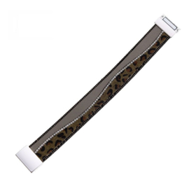 Armband met magneetsluiting effen+dierprint kaki