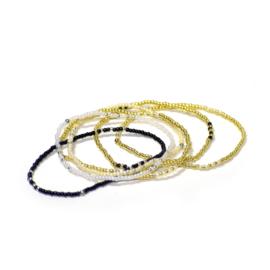 Armband parels wit/zwart/goud