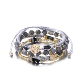 Armband parels grijs