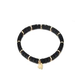 Armband parels mat zwart