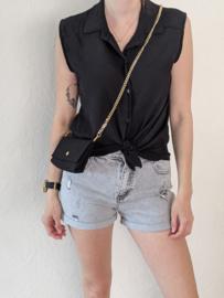 Top effen + handtasje zwart