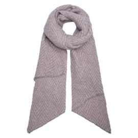 Sjaal chevron lichtroos/grijs