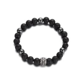 Herenarmband parels zwart/zilver