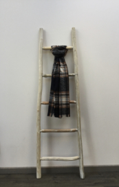 Sjaal ruit zwart/ecru/camel