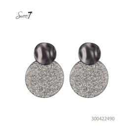 Oorbel cirkel grijs/zilver