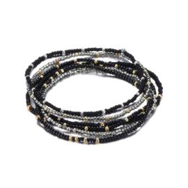 Armband set van 6 fijne parels zwart/goud
