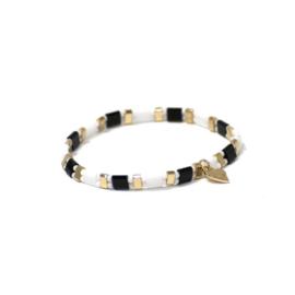 Armband parels zwart/wit