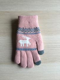 Handschoen Rendier roos