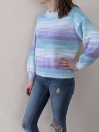 sweater multicolour paars/muntgroen